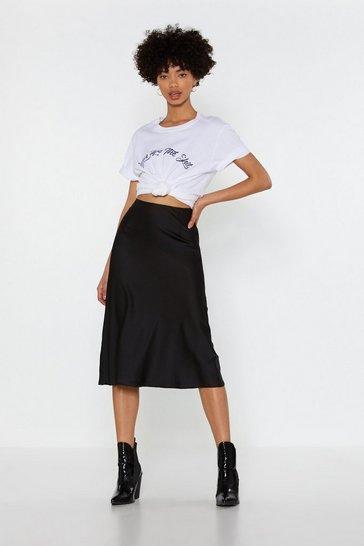 Black Just My Type Satin Midi Skirt