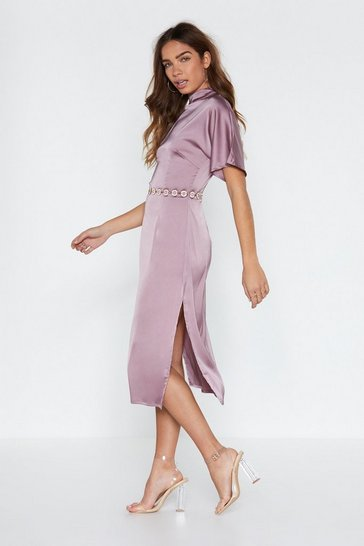 Womens Mauve High Neckline Feeling Fine Satin Dress