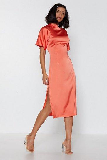 Womens Coral High Neckline Feeling Fine Satin Midi Dress
