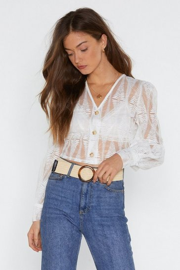 Womens White Believe Nothing of What You Sheer Mesh Blouse