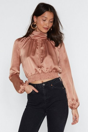 Womens Peach Satin High Neck Split Front Blouse