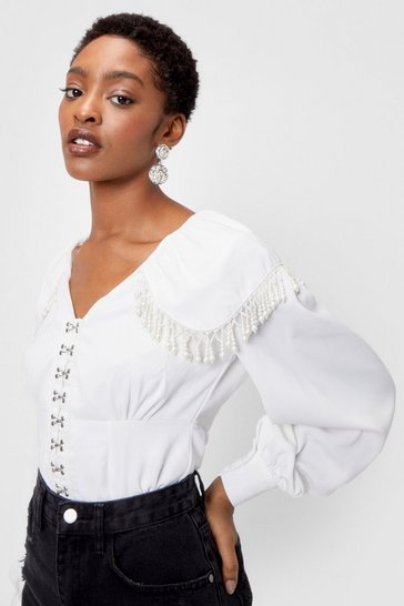 White Pearl Hook and Eye V Neck Blouse