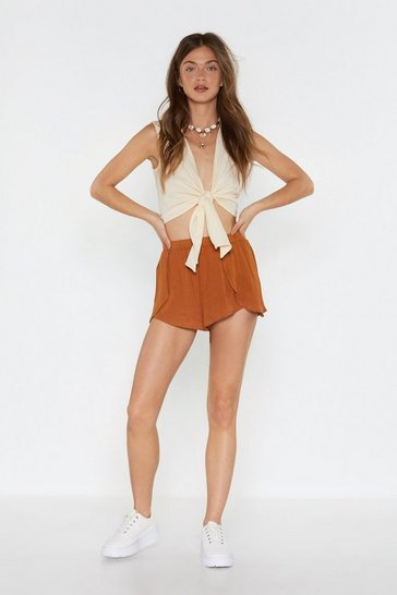 Womens Turmeric Stop Short Cheesecloth Shorts