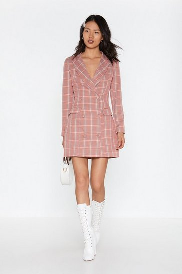 Womens Coral Plaid Influence Mini Blazer Dress