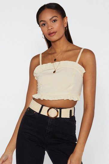 Womens Cream Stop Out Ruffle Crop Top