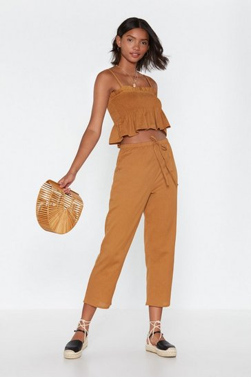 Womens Turmeric High Waisted Wide Leg Culottes