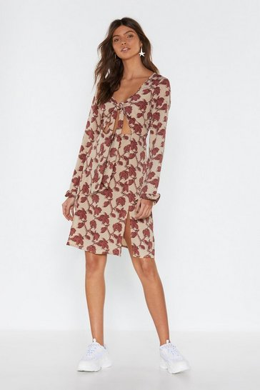 Womens Natural Find Your Roots Floral Tie Dress