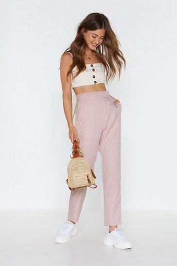 Blush In Check High-Waisted Tapered Trousers