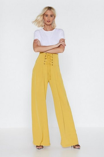 Yellow Call It a Tie Wide-Leg Pants