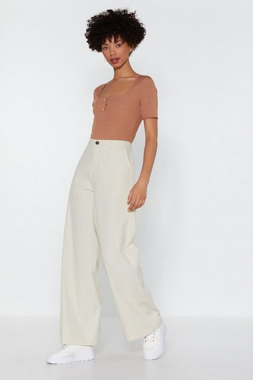 Ecru Come and Hang Wide-Leg Trousers