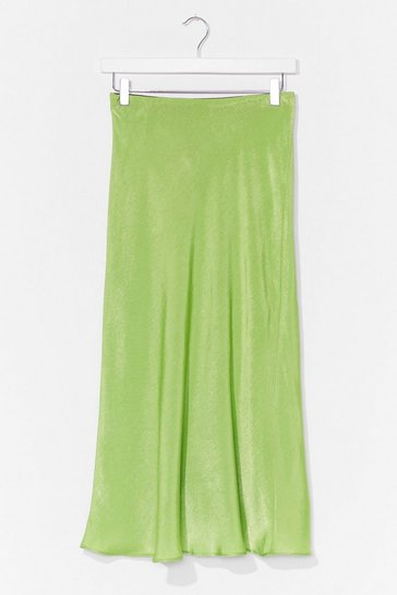 Apple green Touch By Touch Satin Midi Skirt