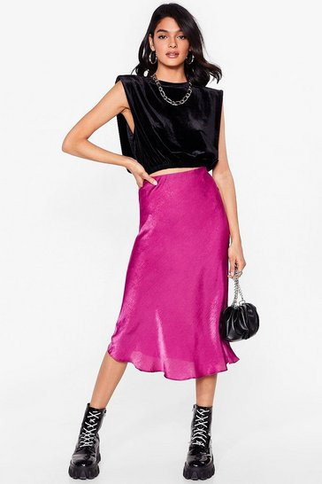Berry Touch By Touch Satin Midi Skirt