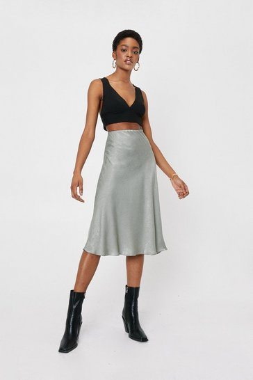 Mint Slinky Satin Midi Skirt