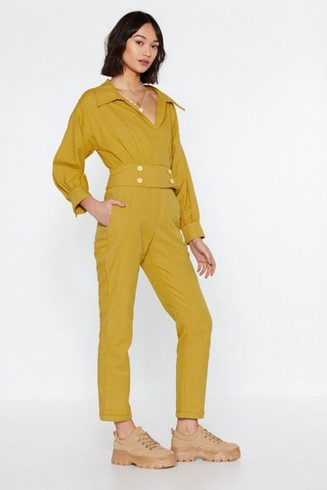 Womens Gold Under Wraps Button Jumpsuit