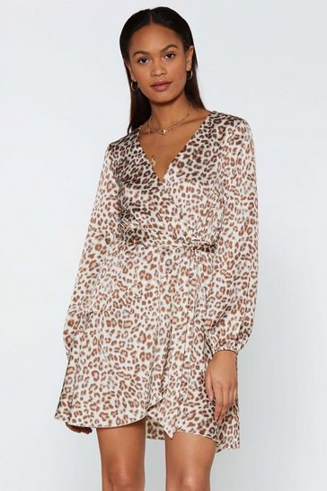 Womens Cream Tattle Tail Leopard Dress