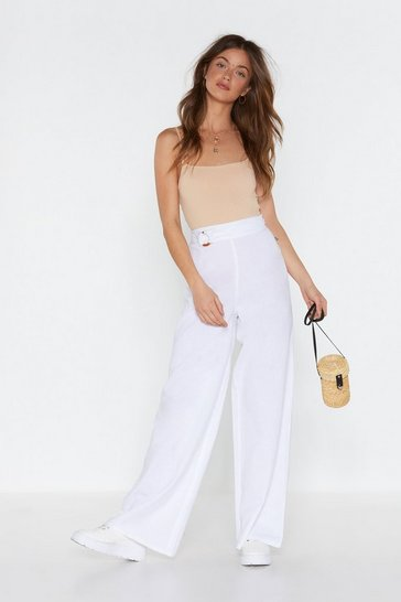 Womens White Linen in Doubt Wide-Leg Trousers