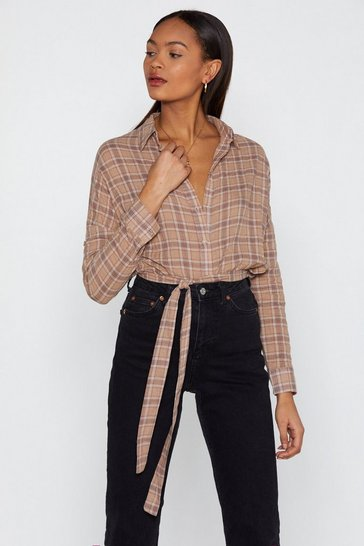 Womens Tobacco Plaid Girls Club Longline Shirt