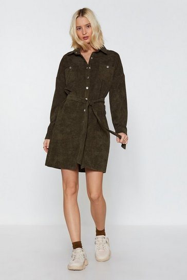 Womens Khaki Life's too Shirt Corduroy Shirt Dress