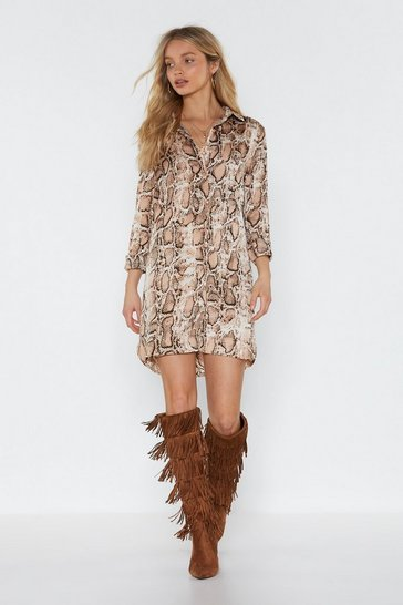 Womens Nude Snake the High Road Mini Shirt Dress