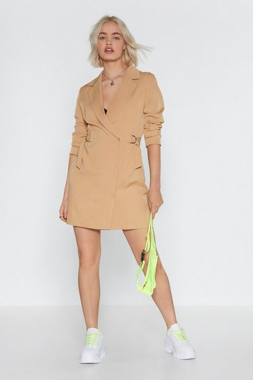 Womens Stone O-Ring It On Mini Blazer Dress