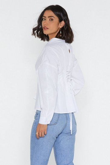 Womens White Lace-Up to It Pleated Shirt