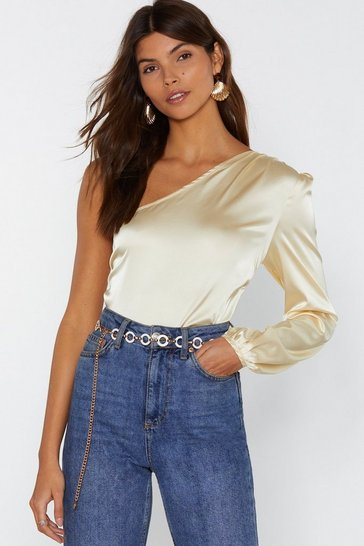 Womens Cream Do You Be-sleeve Satin One Shoulder Top