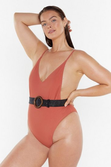 Womens Spice Nasty Gal Alina Plus High-Leg Swimsuit