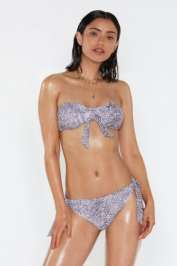 Womens Nude Animal Print Bandeau Bikini Set