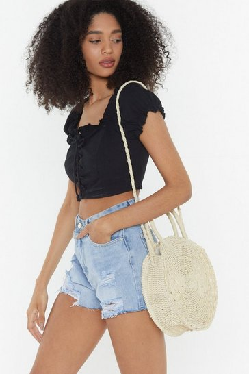 Womens Cream WANT Another Round Woven Shoulder Bag
