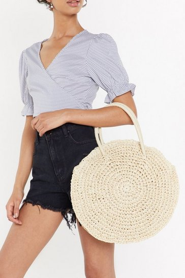 Womens Cream WANT Another Round Woven Bag