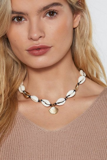 Womens White Shell Choker Necklace