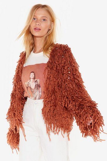 Womens Mocha Bad Romance Shaggy Cardigan