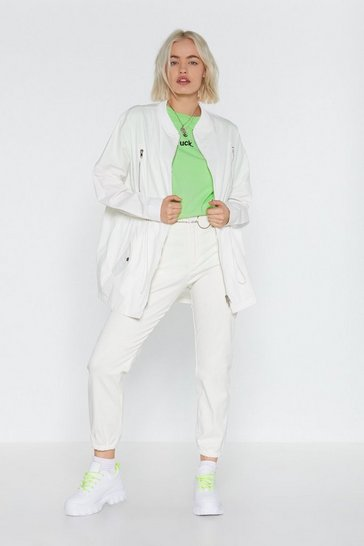 Womens White Pull Me in Drawstring Utility Jacket