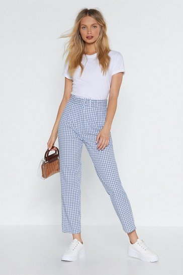 Womens Blue Square One Gingham Tapered Pants