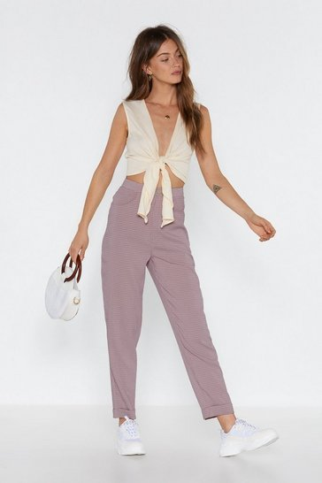 Womens Pink Check Out High-Waisted Tapered Pants