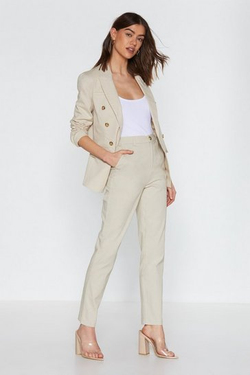 Womens Beige Linen 'Em Up Tapered Trousers