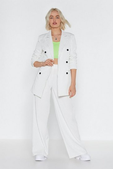 Womens White Cut in Line Pinstripe Wide-Leg Pants