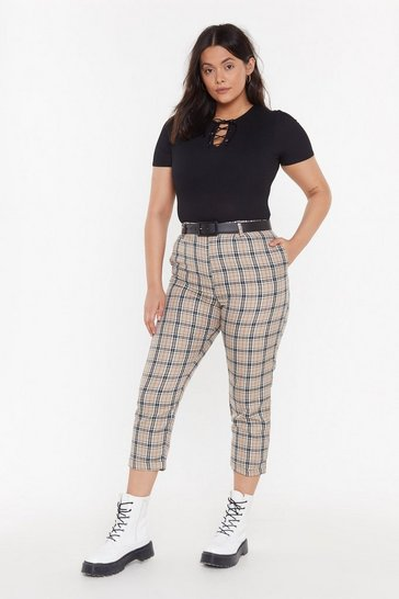 Beige Checked Tapered Trousers
