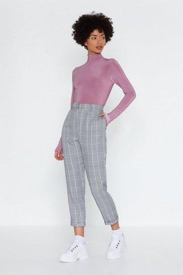 Womens Black Lost-and-Houndstooth Check Pants