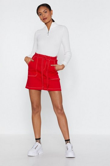 Womens Red Such a Stitch Belted Denim Skirt