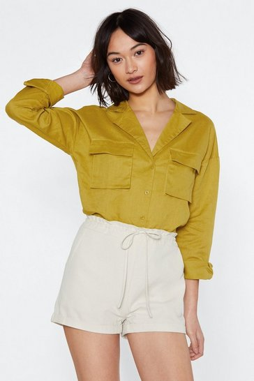 Womens Mustard Get in Linen Relaxed Shirt