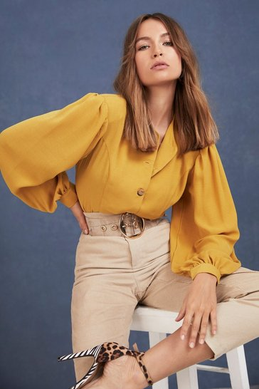 Mustard Let's Get Button-Down to Business Blouse