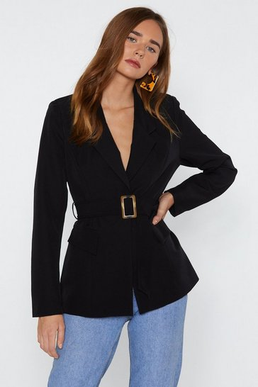 Womens Black Business As Usual Belted Blazer