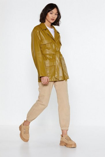 Lime Longing for You Faux Leather Belted Jacket