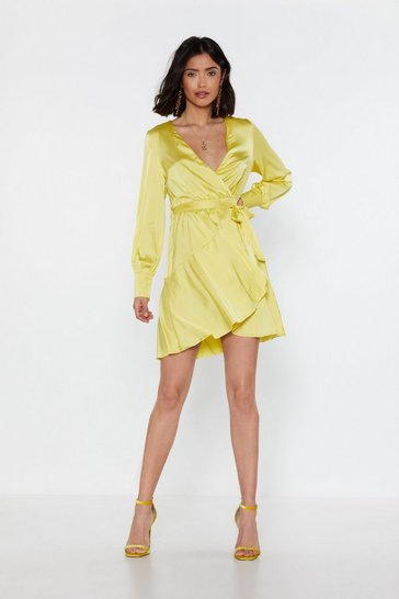 Womens Lime What's Satin-in' Tonight Wrap Mini Dress