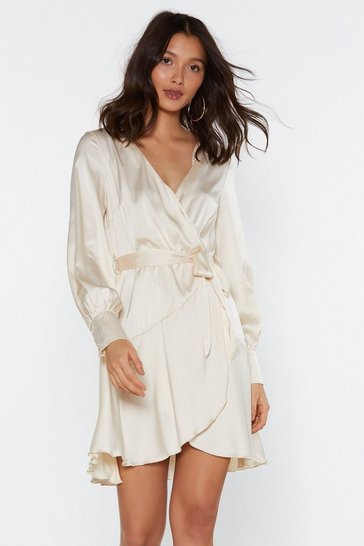 Womens Ivory Touch Base Wrap Satin Dress