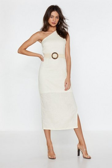 Womens Ecru Lay It on the Linen One Shoulder Dress
