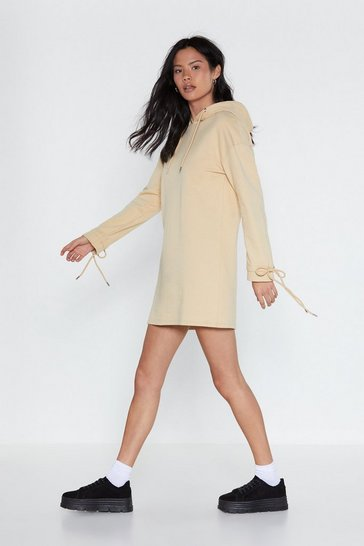 Womens Beige Tie Away Oversized Hoodie Dress