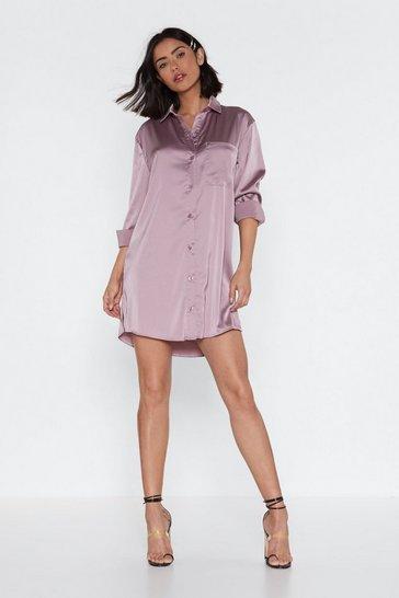 0459daa18256 Smooth Operator Satin Shirt Dress