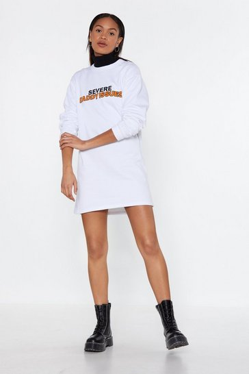 Womens White Daddy Issues Sweat Dress